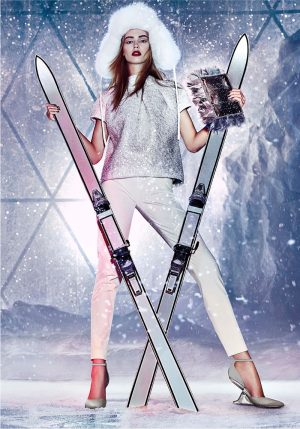Ondria Hardin is Snow-Ready in Jimmy Choo's Cruise Campaign