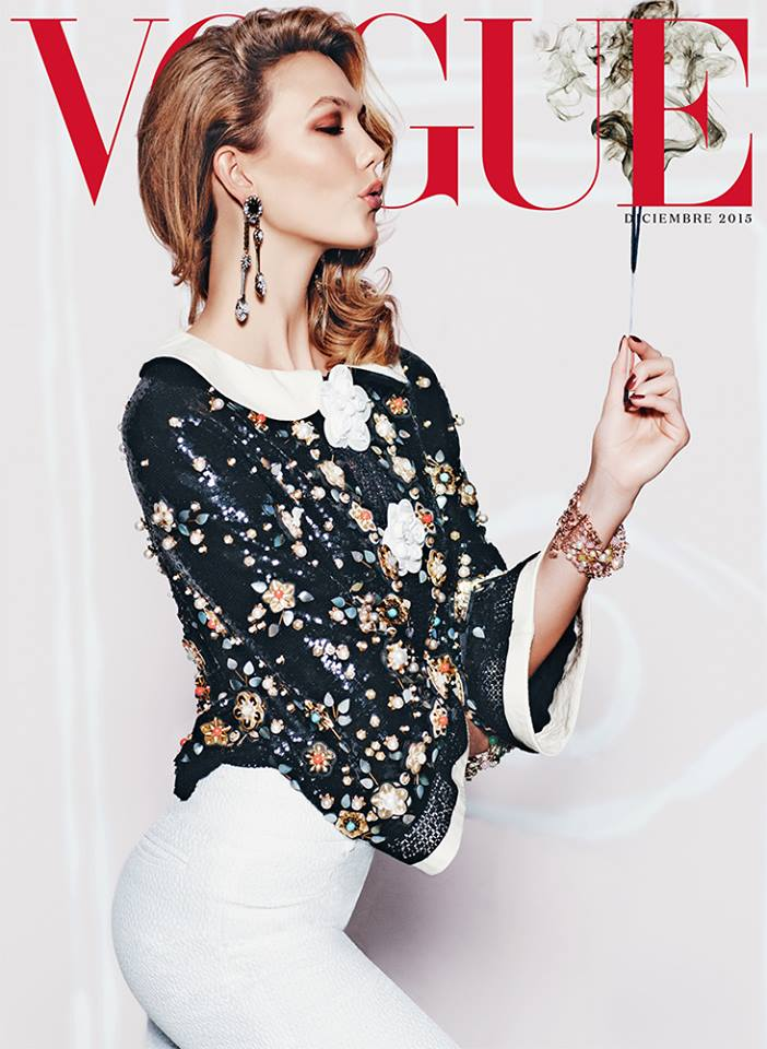 Karlie Kloss wears Chanel on Vogue Mexico December 2015 cover
