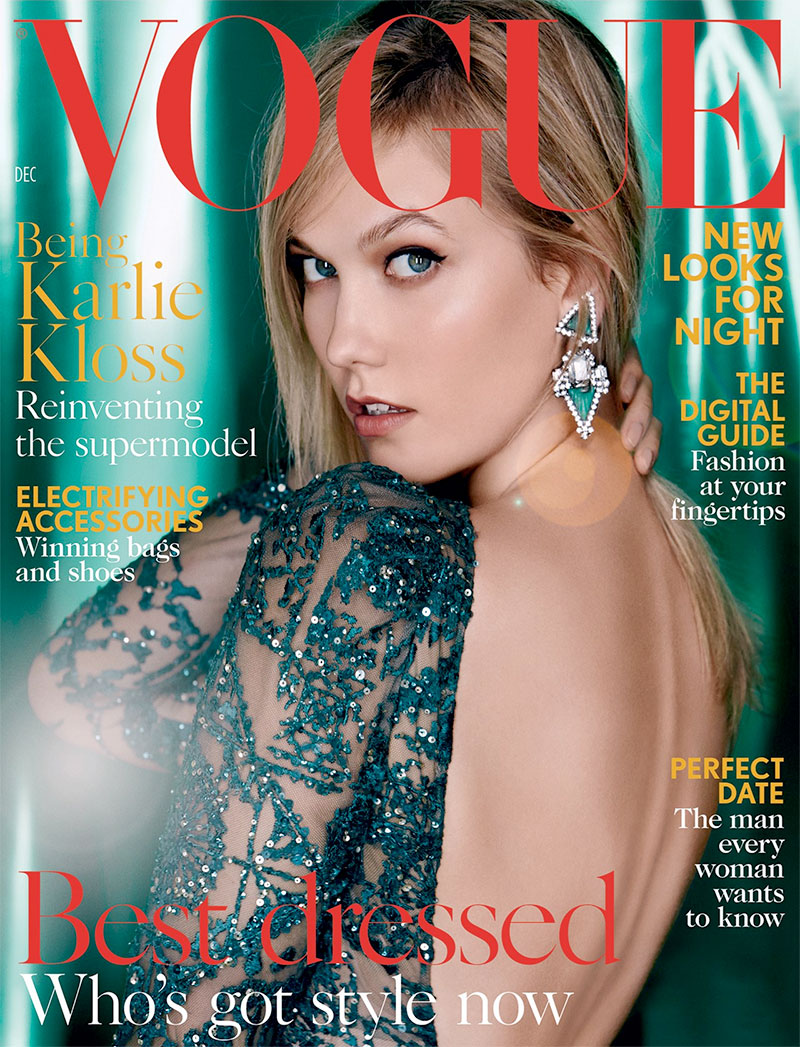 Karlie Kloss Glitters on Vogue UK's December Cover