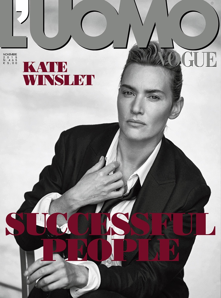 kate winslet suits up for peter lindbergh shoot in l u0026 39 uomo