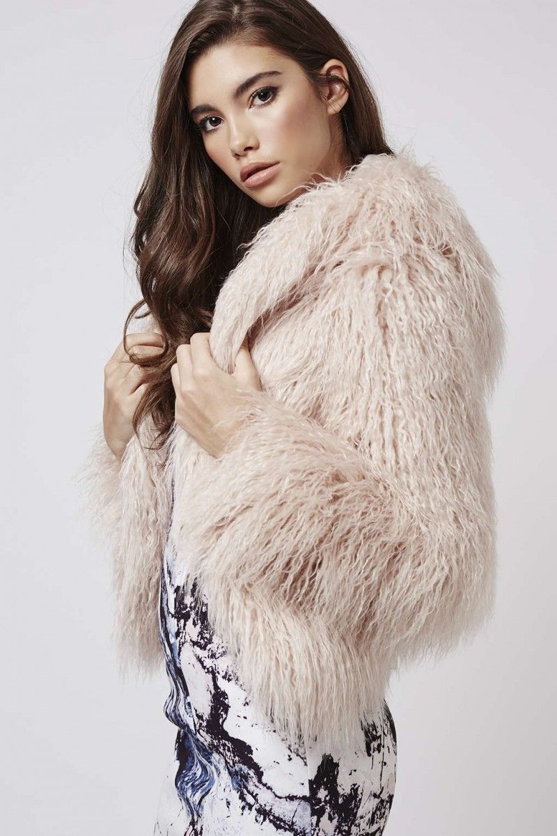 Kendall + Kylie at Topshop Faux Fur Hooded Coat in Pink