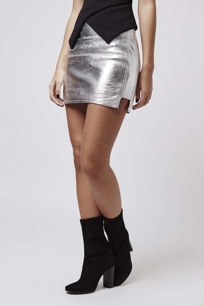 Kendall + Kylie at Topshop Metallic Silver Leather Mini Skirt