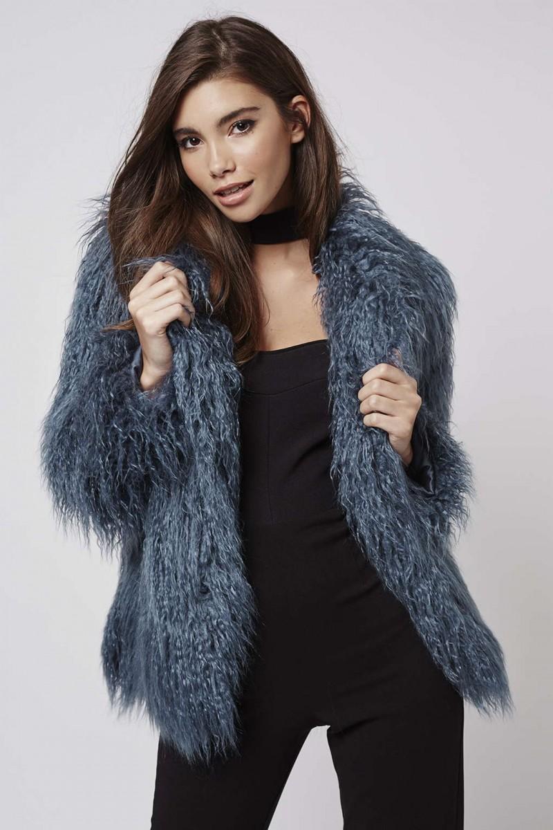 Kendall + Kylie at Topshop Blue Mongolian Fur Coat