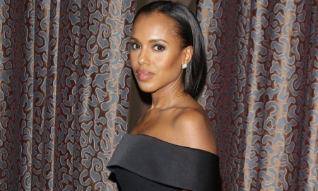 Kerry Washington at the ACLU Bill of Rights Dinner wearing a BOSS black dress