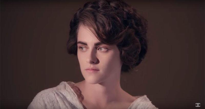 Screen cap of Kristen Stewart in Chanel film trailer