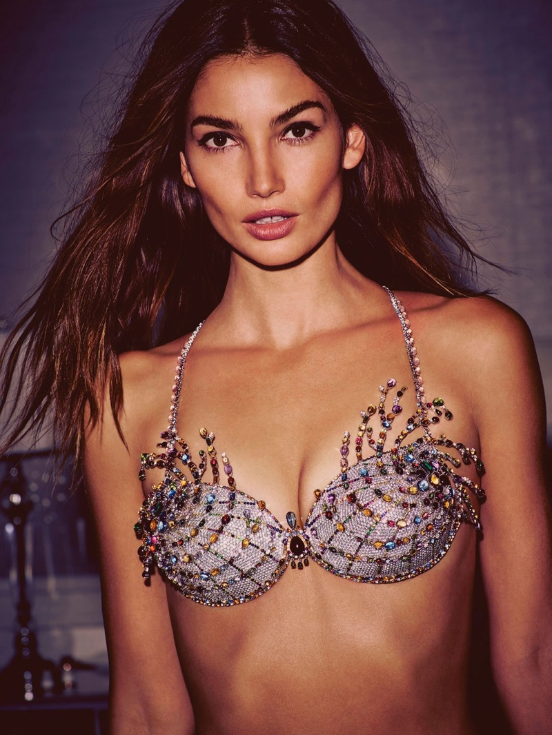 Lily Aldridge wears 2015 Victoria's Secret Fantasy Bra