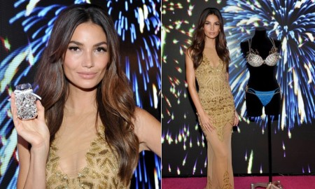 Lily Aldridge wears gold Zuhair Murad dress at Victoria's Secret Fantasy Bra event