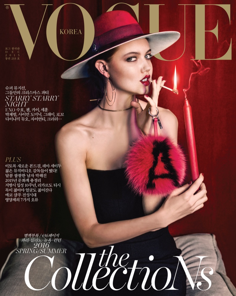 Lindsey wixson smolders in cold weather fashions for vogue korea lindsey wixson on vogue korea december 2015 cover ccuart Image collections