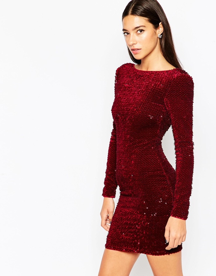 Turmec » long sleeve velvet dress
