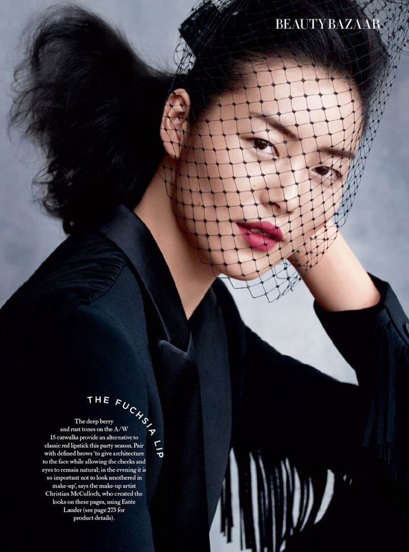 Liu Wen models evening beauty looks for the editorial