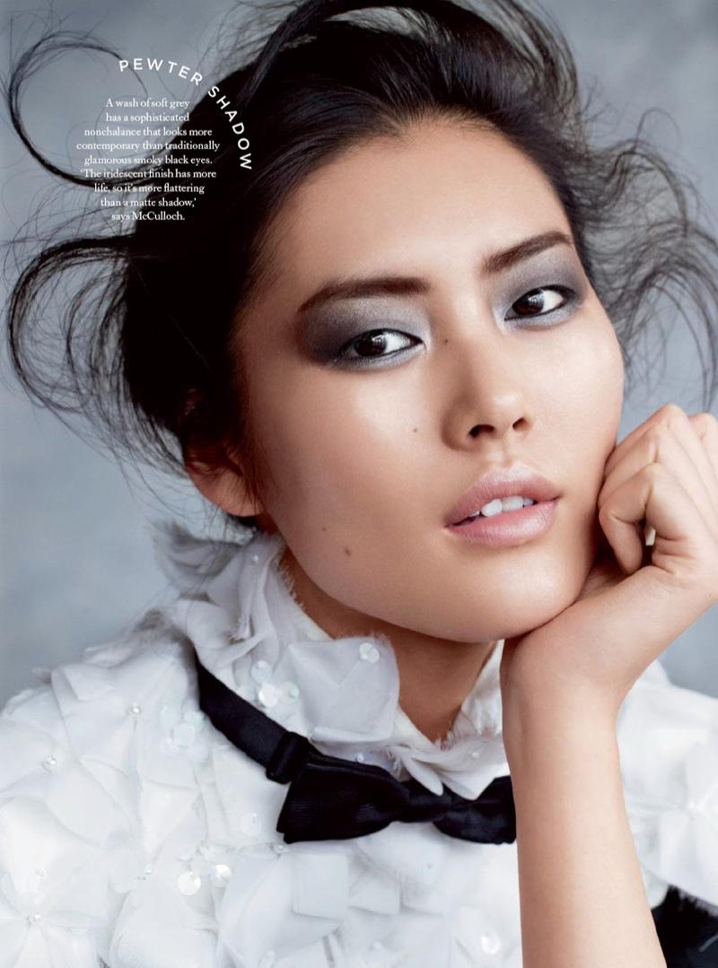 Liu Wen Stuns in Evening Ready Makeup Looks for BAZAAR UK