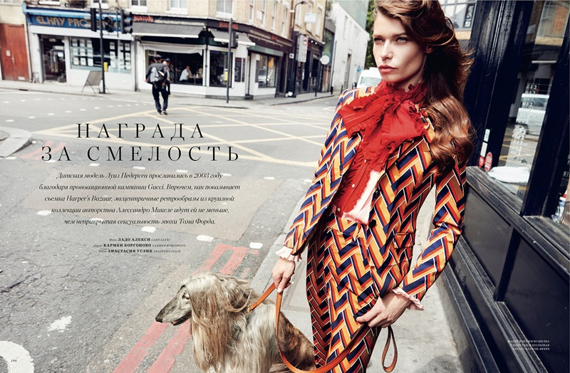 Louise models Gucci designs for the editorial photographed by Lado Alexi