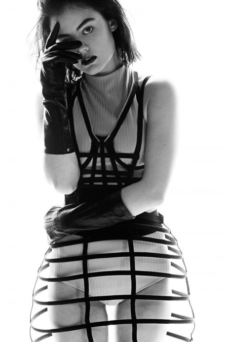 Lucy Hale wears bondage inspired styles for Paper Magazine