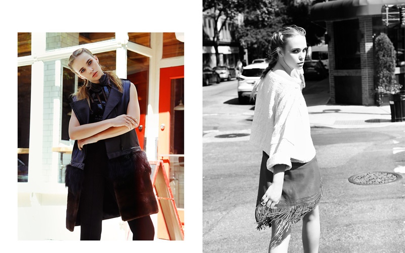 (L) Jumpsuit Noam Hanoch, Vest Sally Lapointe (R) Top Electric Feathers, Skirt Milly