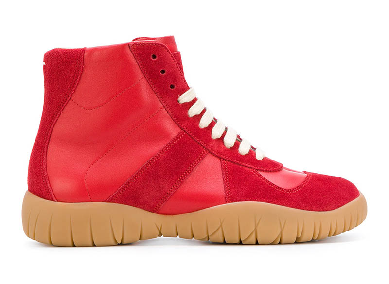 Maison Margiela Red Lace-Up Boot Sneakers $985