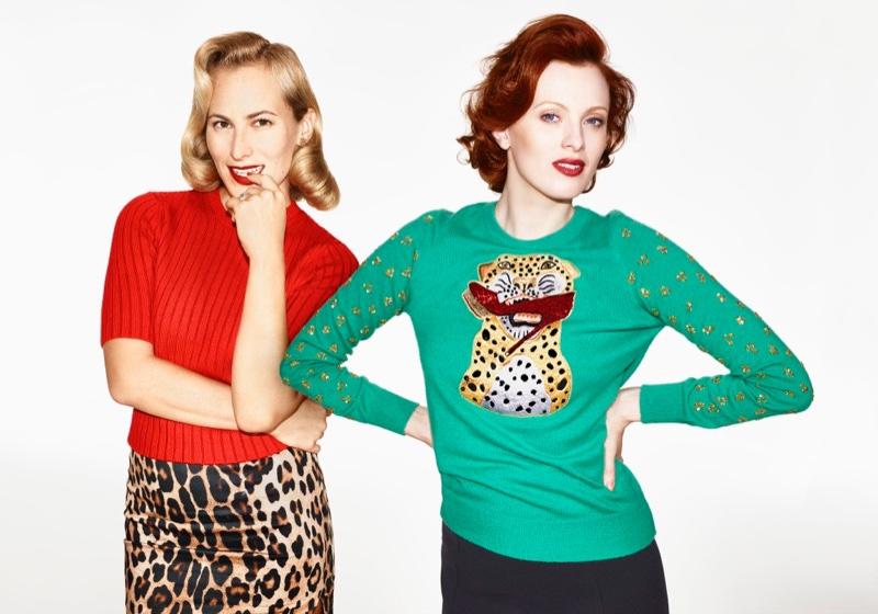 Charlotte Olympia x Karen Elson Save the Children sweater (on Karen)