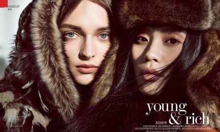 Daga Ziober and Ming Xi star in Vogue China's October issue