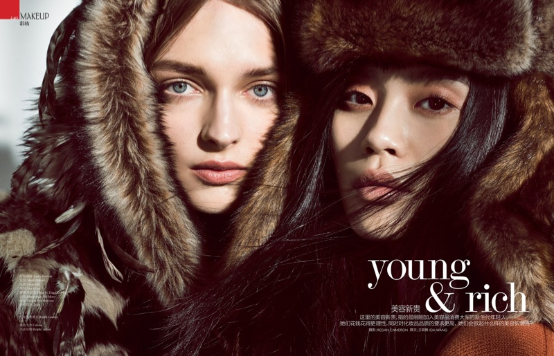 Ming Xi + Daga Ziober Bundle Up In Furs For Vogue China Beauty October 2015