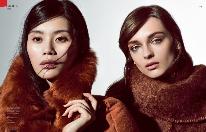 The models wear fur looks for the editorial