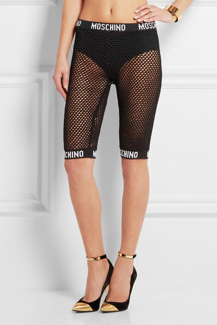 Moschino Cotton Mesh Shorts in Black