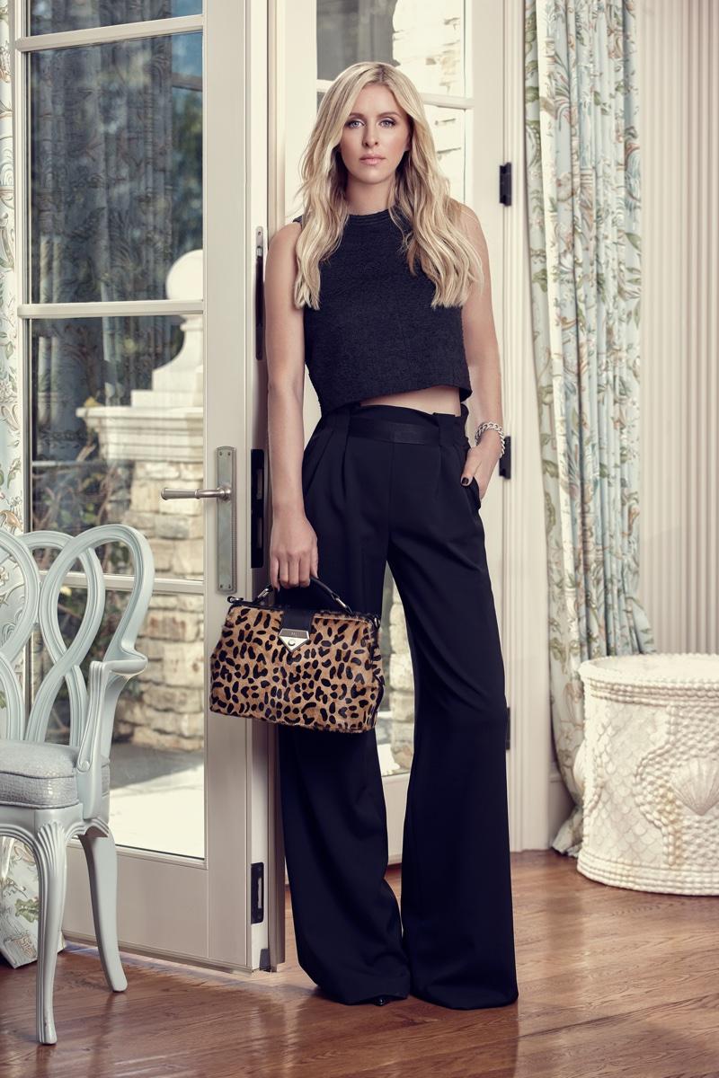 Nicky Hilton models Linea Pelle handbag collaboration