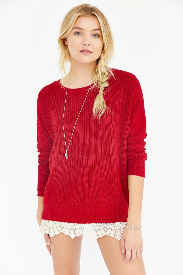 Pins and Needles Lace Trim Sweater in Red available for $59.00