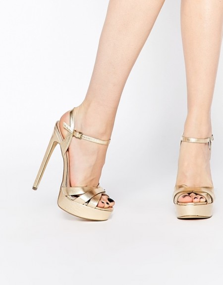 River Island Gold Platform Heeels