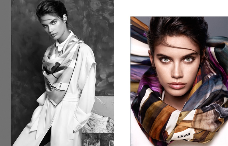 Sara sports colorful scarves in the campaign