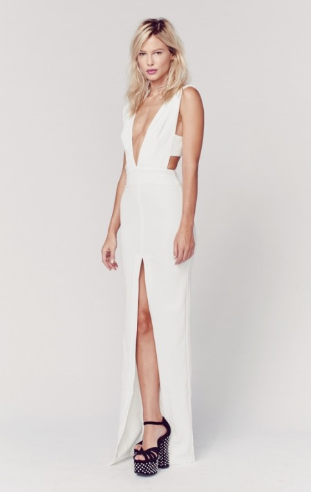 Solace White Maxi Dress with Slit