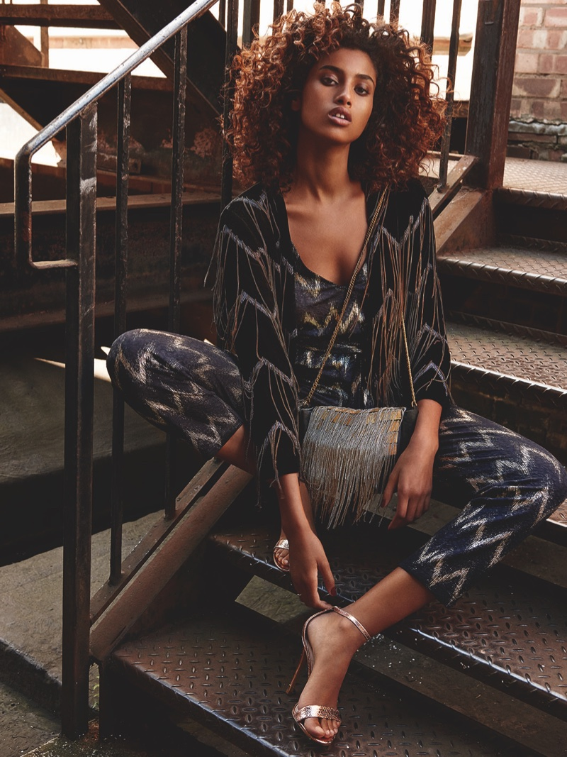 Imaan Hammaam stars in Topshop's holiday 2015 campaign