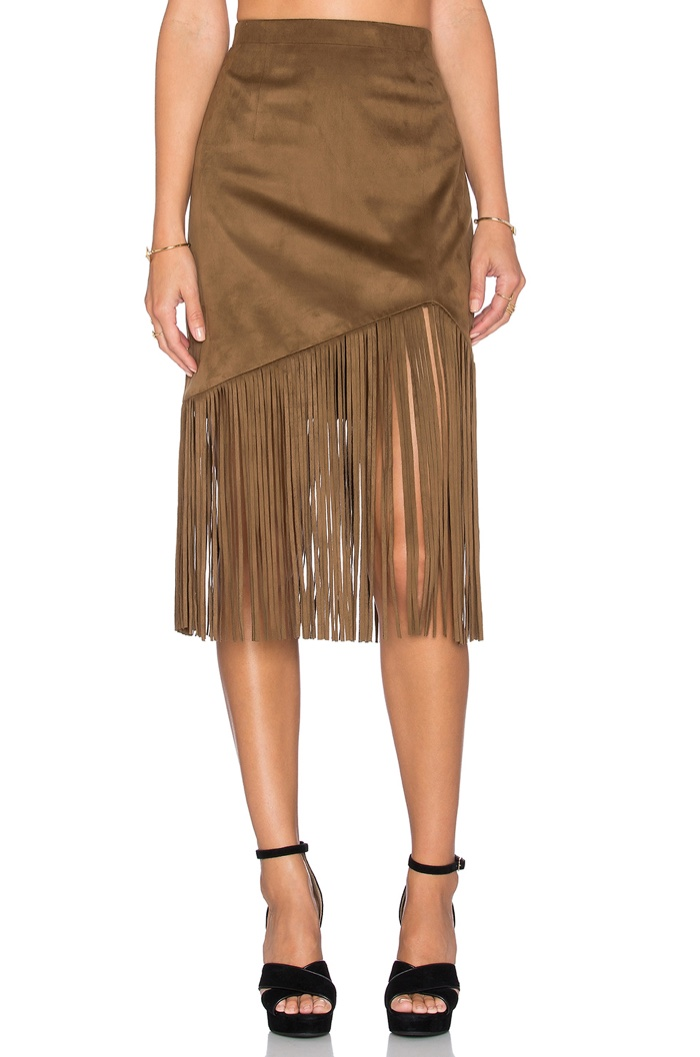 Tularosa Donna Fringe Skirt in Brown