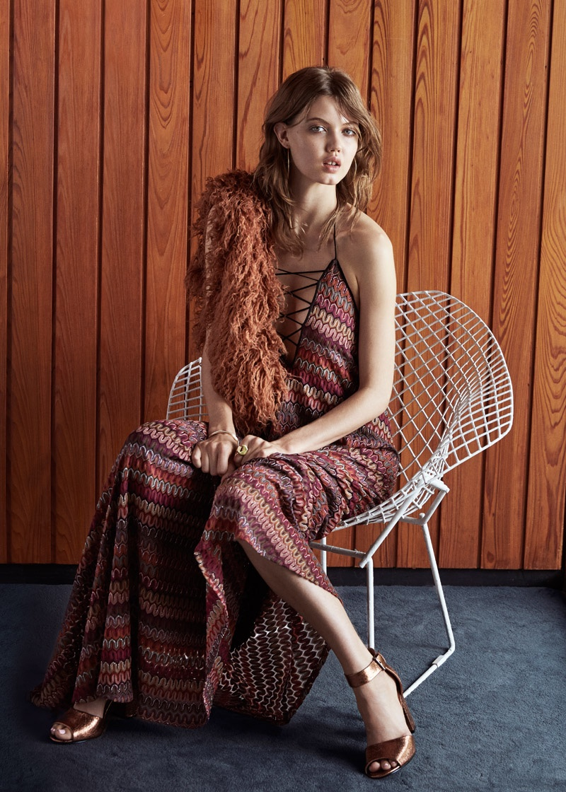 Ecote Flame Stitch Lace-Up Maxi Dress