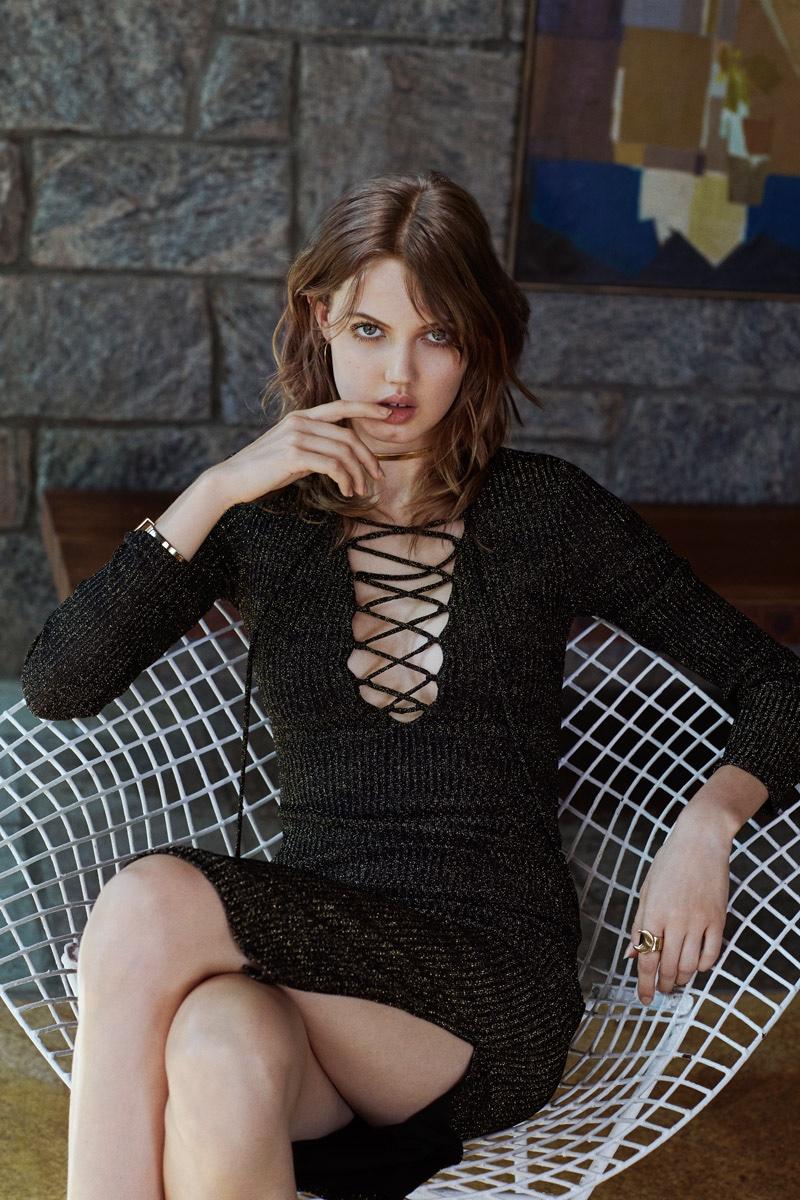 Bardot Romeo Shimmer Lace-Up Dress