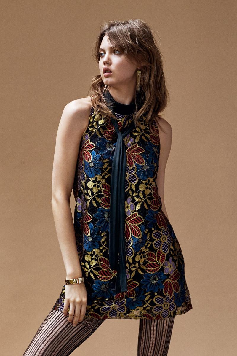 Cooperative Metallic Lace Mini Dress