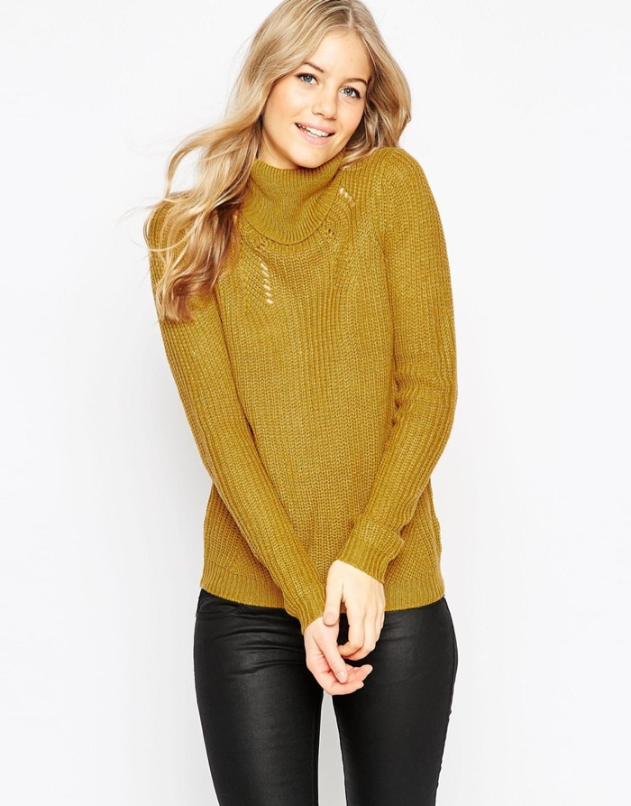 Vila Turtleneck Sweater in Mustard available for $32.25