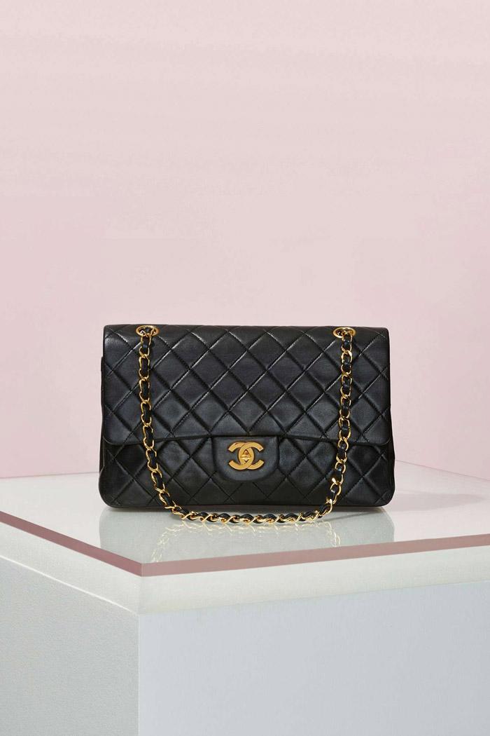 Vintage Chanel 2.55 Black Leather Bag