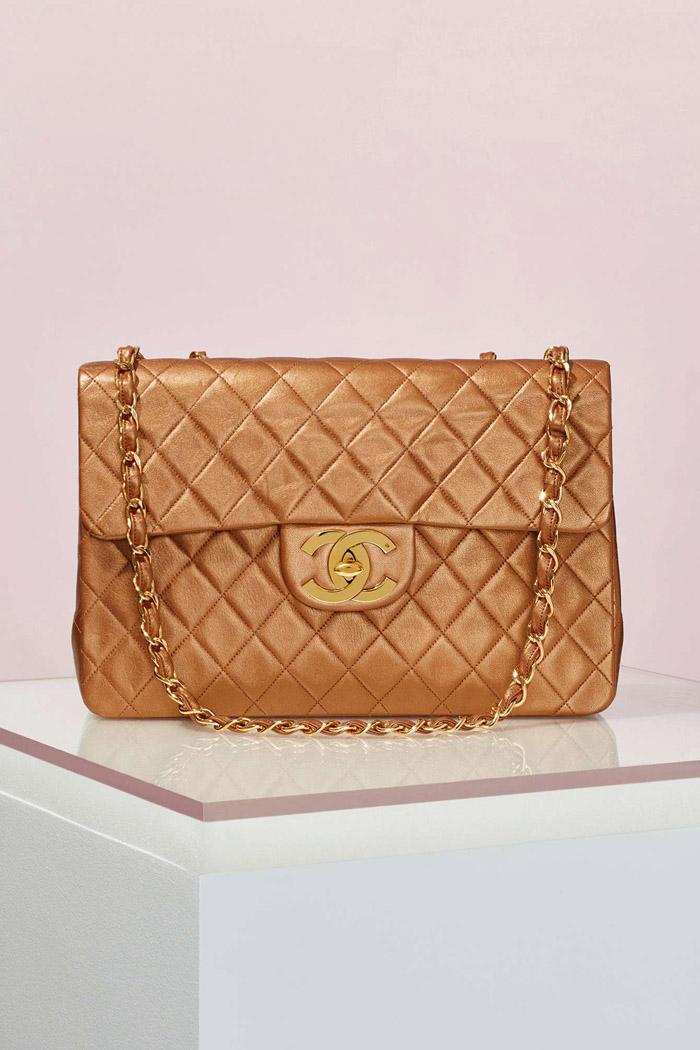 Vintage Chanel Bronze Leather Maxi Bag