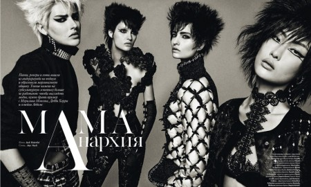 Dorota Kullova, Gia Tang, Veronika Vilim and Victoria Anderson pose for Vogue Ukraine's November issue