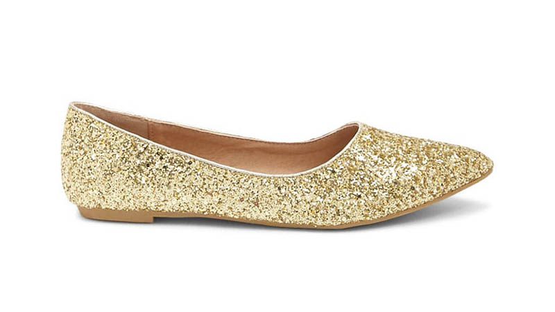 Yoki Glitter Pointed Toe Flats in Gold $18