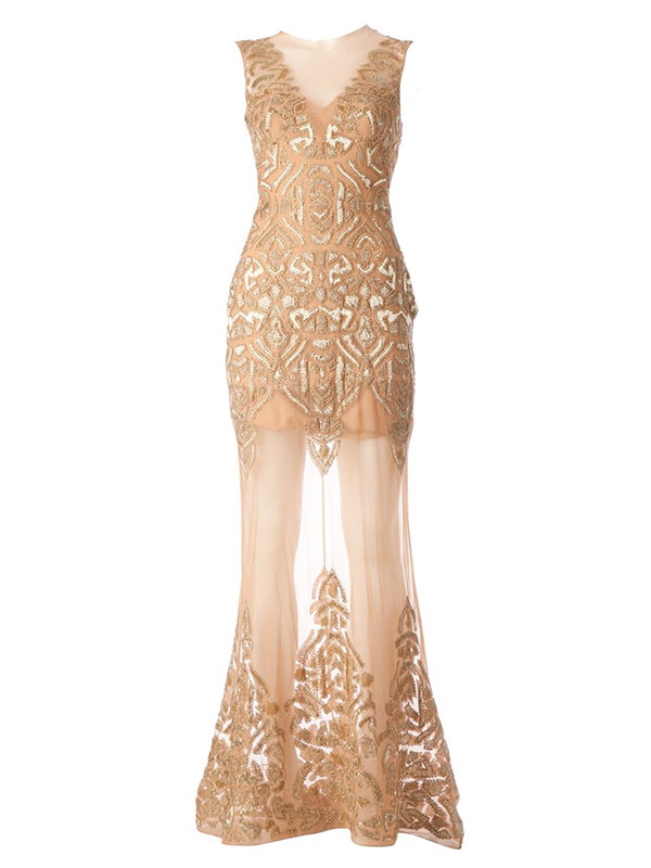 GET THE LOOK: Zuhair Murad Gold Embellished Evening Dress