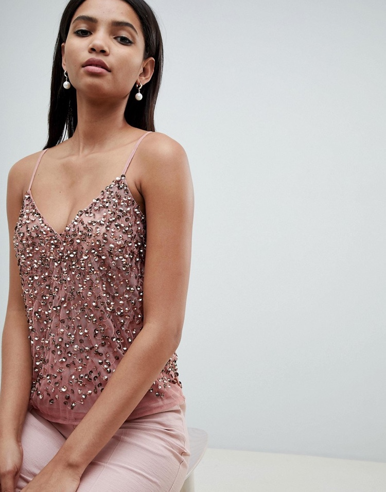 ASOS Design Cami Top with Sequin Embellishment $40