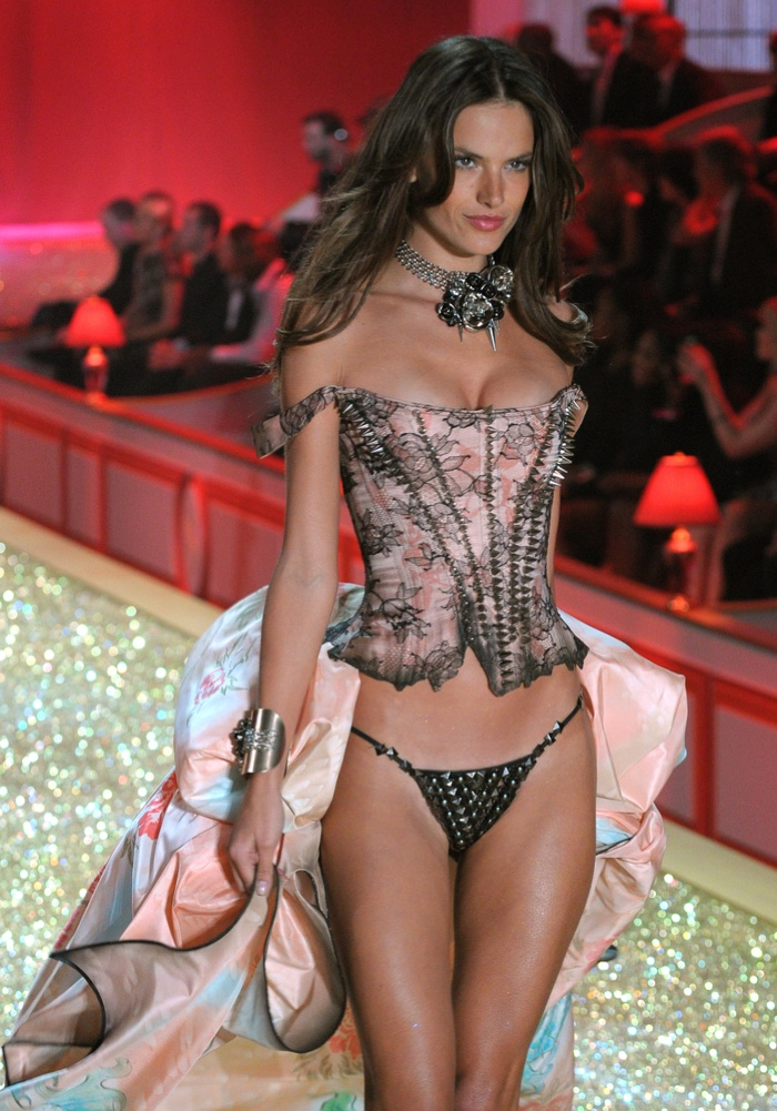 In 2010, Alessandra Ambrosio looked pretty in pink wearing a corset inspired number on the glittering Victoria's Secret runway. Photo: FashionStock.com / Shutterstock.com