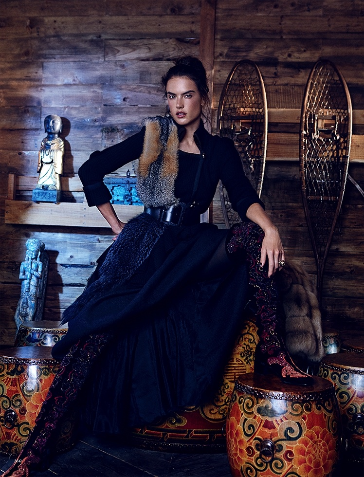Alessandra poses in elegant winter fashions for the photo spread