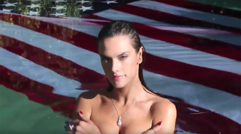Alessandra Ambrosio Takes A Sexy Dip In The Pool For LOVE Magazne