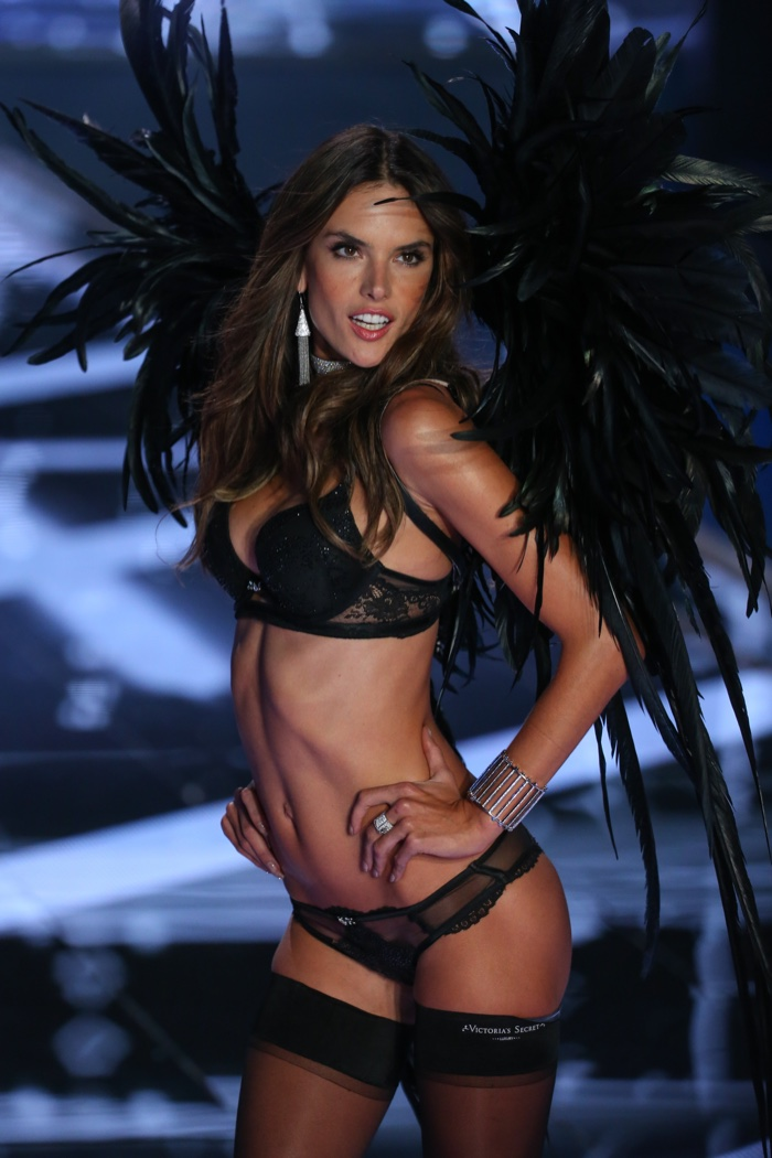 Marking ten years as a Victoria's Secret Angel, Alessandra Ambrosio wore an all black bra and panty look with wings to match in 2014. Photo: FashionStock.com / Shutterstock.com