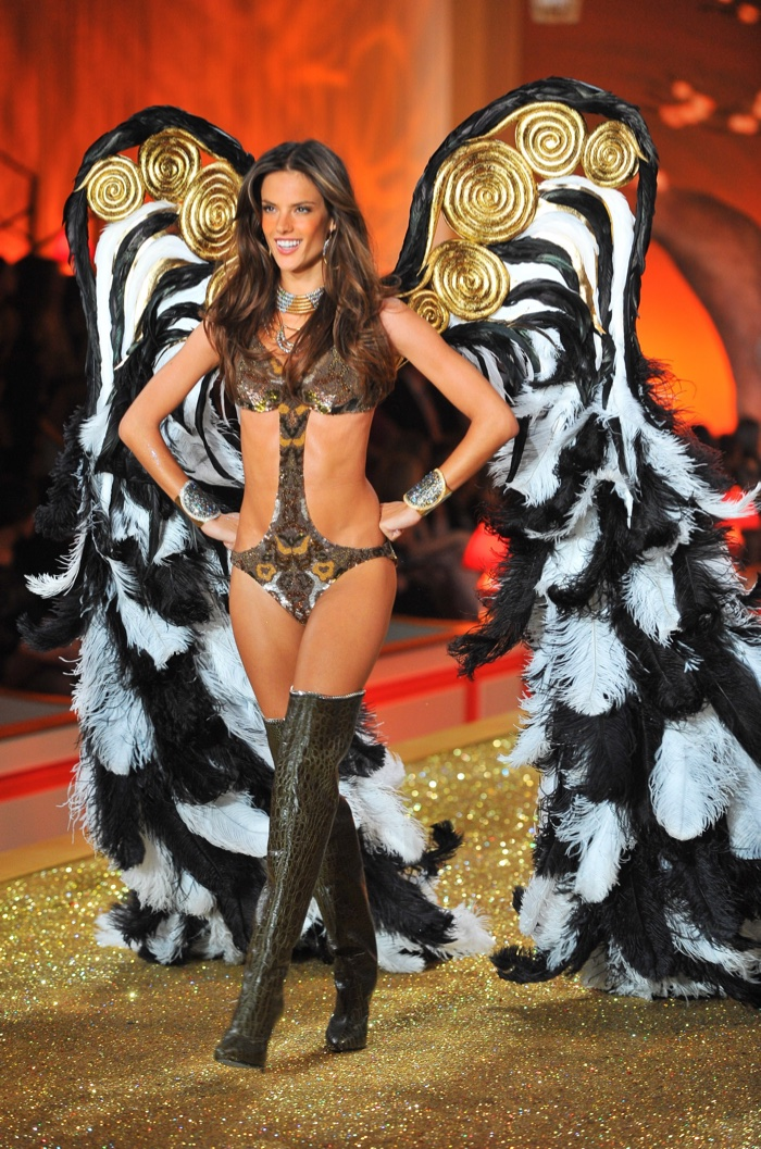 Alessandra Ambrosio once again rocked the runway at the 2010 Victoria's Secret Fashion Show clad in a sexy monokini and boots. Photo:  Everett Collection / Shutterstock.com
