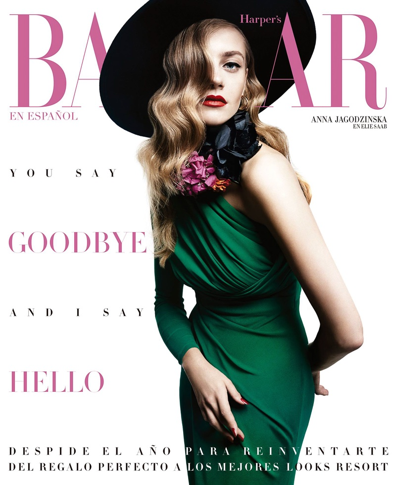 Anna Jagodzinska on Harper's Bazaar Mexico December-January 2015.2016 cover