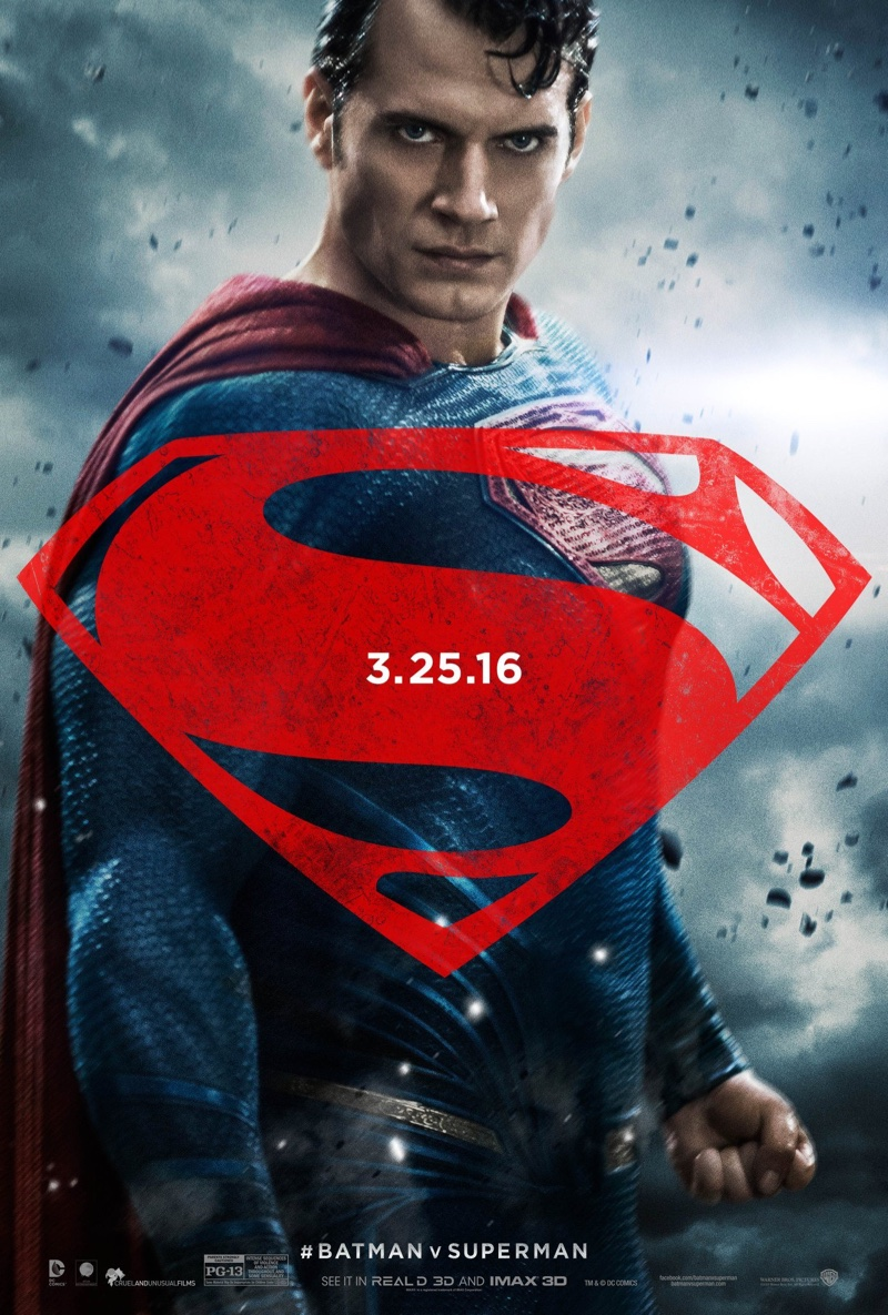 Henry Cavill on Batman v Superman poster