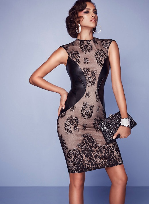 Bebe Lace and Faux Leather Dress