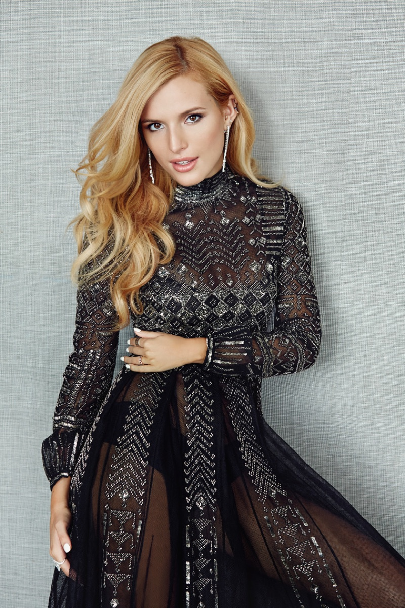 Bella Thorne poses in Valentino dress